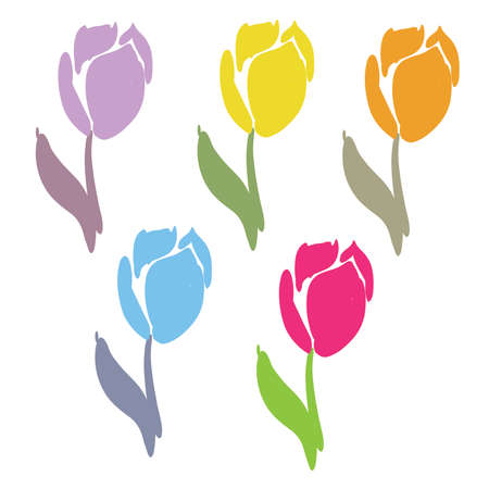 Retro Tulips Brush Stroke vectorset 68719224