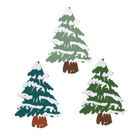 Hand Drawn Snow Covered Pines 68749222