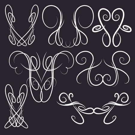 Decorative Symmetrical Pinstripe Style Swirls Elements, Black and White 66957172