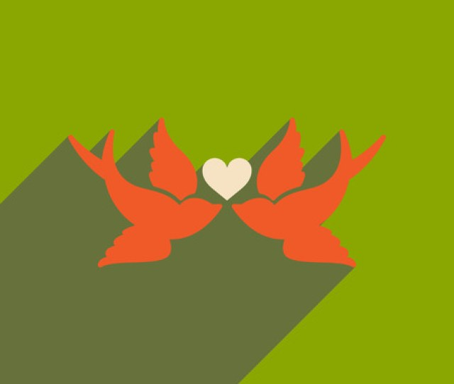 Flat Web Icon With Long Shadow Birds Heart Illustration