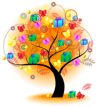 Tree of colorful gifts  A big stylish tree with gifts and presents on the branches for seasonal usage, create by vector Stock Vector - 23212412