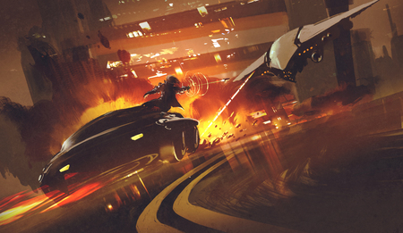 chase scene of spacecraft chasing futuristic car on highway,illustration Stock Illustration - 58712655