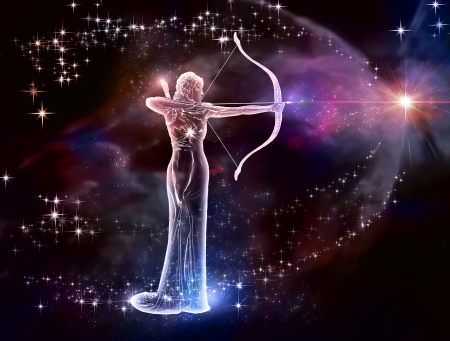 If your sign is Sagittarius, this image is for you  Archer is a fire sign  Cosmic Fire, a warrior of the universe  Stock Photo - 20395594