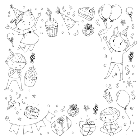 birthday party children kids drawing party invitation with boys