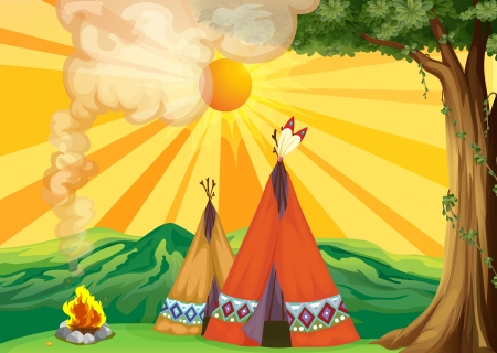 Illustration of tents in the woods Stock Photo - 17891924