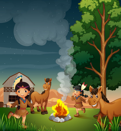 Illustration of a farm with Indian girls Stock Vector - 29111553