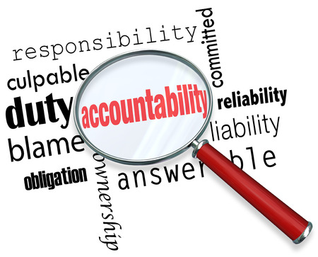 Accountability word under a magnifying glass looking for someone to take responsibility, credit or blame Stock Photo - 30365766