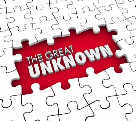 unknown mystery strange weird: The Great Unknown 3d words in a puzzle piece hole or gap representing missing information, knowledge or guidance for a job or task Stock Photo