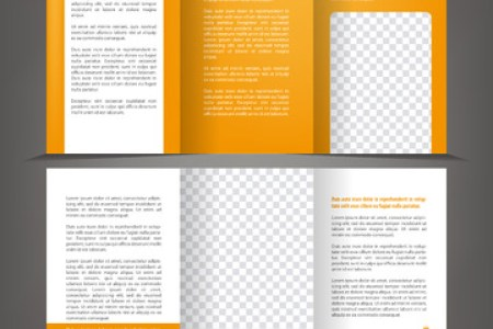 10 480 Trifold Brochure Template Cliparts  Stock Vector And Royalty     Vector empty trifold brochure print template design with orange elements  Illustration
