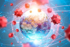 Red Virus Cells Over Earth And Its Blurry Hologram. Concept Of ...