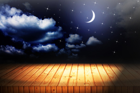 backgrounds night sky with stars and moon and clouds. wood Stock Photo - 37000983