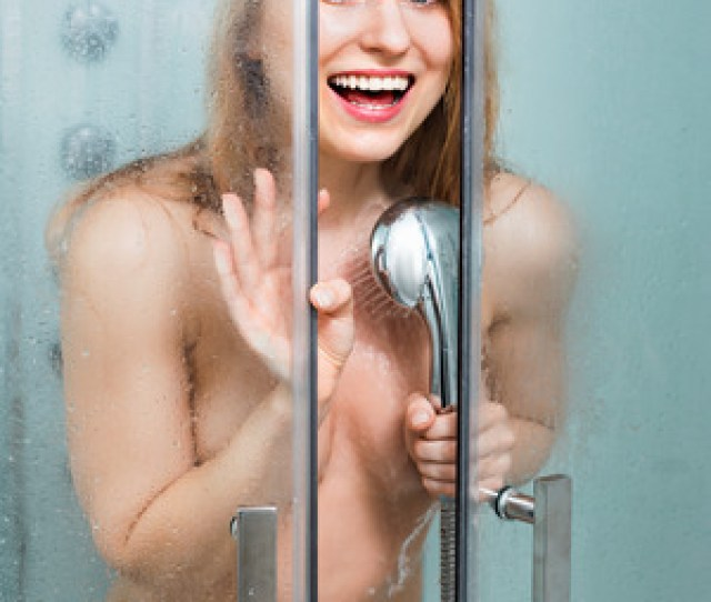64646364 Beautiful Smiling Naked Woman With Long Blond Hair Taking Shower In Shower Stall