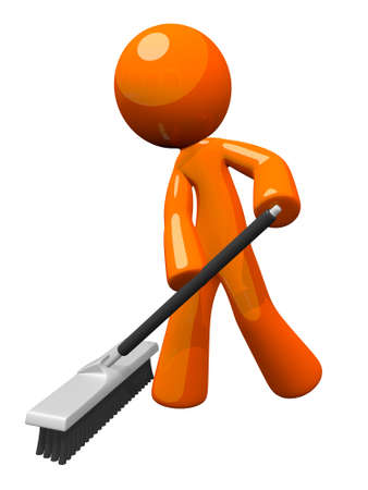 sweeping broom: Orange man sweeping and pushing a broom.