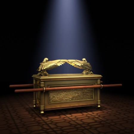 ARK OF THE COVENANT: Ark of the Covenant inside the Holy of Holies illuminated with a shaft of light from above Stock Photo
