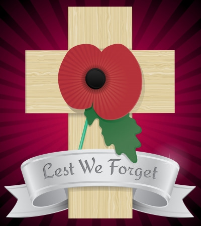 Remembrance Poppy on cross Stock Vector - 16031409
