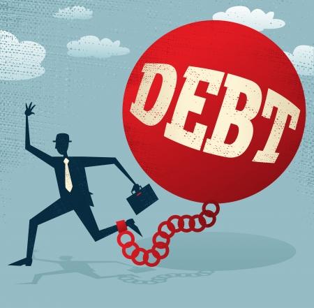 Resumen Ejecutivo encerrado en una bola de la deuda y de la cadena Foto de archivo - 23080669