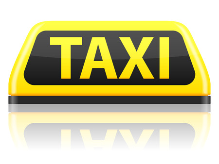 taxi sign: Taxi sign on a white background. Illustration