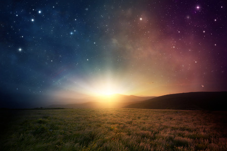 sunrise: Beautiful sunrise with stars and galaxy in night sky.
