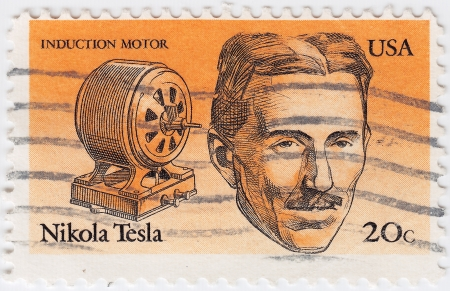 tesla: USA - CIRCA 1997 : stamp printed in USA show great American inventor, engineer, Nikola Tesla, circa 1997 Editorial