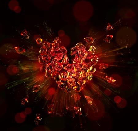 broken pieces: heart broken into pieces