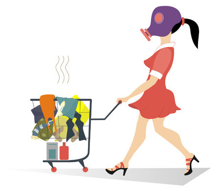 dirty laundry: Dirty laundry. Girl in the gas mask wheels a trolley with dirty laundry Illustration