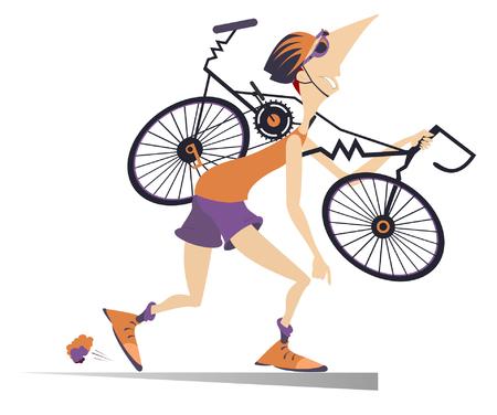 Lustige Schildkrote Radfahrer Vektor Abbildung Illustration