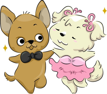 Illustration of a Pair of Dogs Dancing Stock Illustration - 11860856