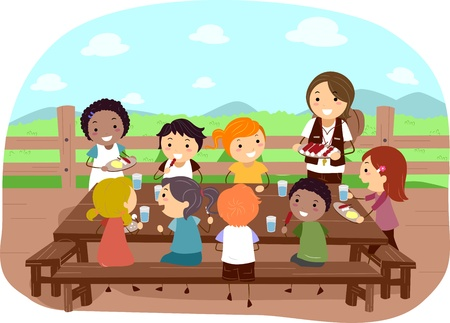 Illustration de campeurs Manger ensemble Banque d'images - 12325631