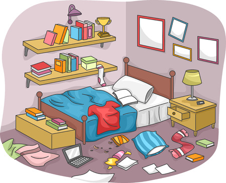 Ilration Of A Disorganized Room Littered With Pieces Trash