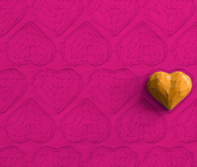 Stock Photo Unique Yellow Heart On Pink Background Among The Many Empty Wireframe Hearts Abstract Polygonal Heart With Shadow Love Symbol