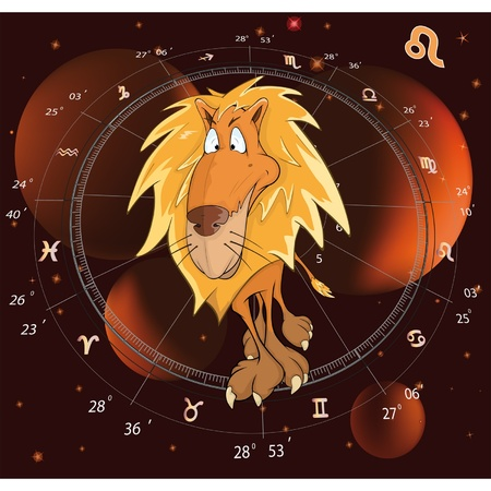 Sign on the zodiac a lion Stock Vector - 12485132