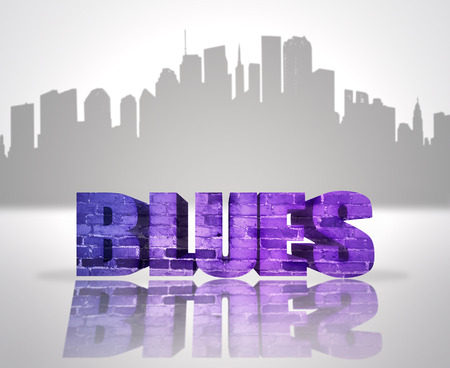 Text Blues near abstract skyline silhouette of the city Stock Photo - 32499882