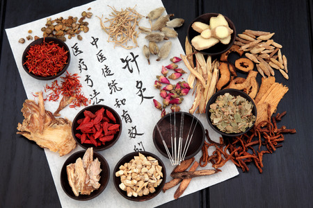 chinese medicine: Mandarin calligraphy script on rice paper describing acupuncture chinese medicine as a traditional and effective medical solution.