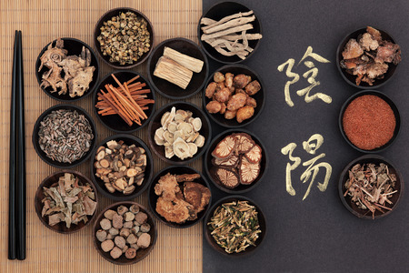 herbal medicine: Chinese herbal medicine with yin and yang calligraphy script over bamboo Translation reads as yin yang