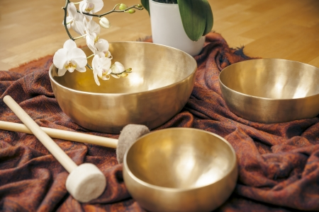 An image of some singing bowls and a white orchid Stock Photo - 21738608