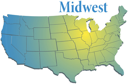 Sunny Spotlight Shines On Midwest Map Of States In US Midwestern     Sunny Spotlight Shines On Midwest Map Of States In US Midwestern   Royalty  Free Cliparts  Vectors  And Stock Illustration  Image 34350292