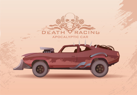 Concept on the theme of cars of the future, post-Apocalypse, Apocalypse, nuclear disaster, death race, buggy, off-road racing, tuning cars. Vector poster in modern flat design. Stock Vector - 49965325