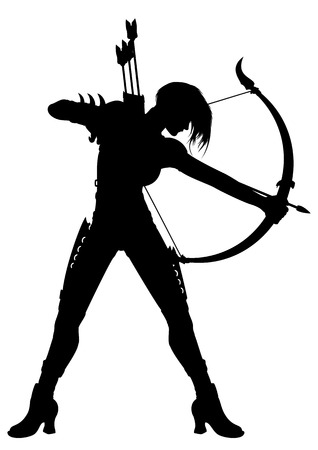 Illustration a fantasy woman archer with a bow and arrows or a horoscope symbol Sagittarius. Stock Illustration - 40872722