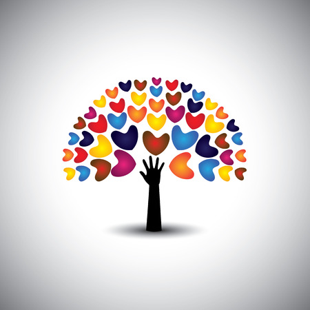 heart or love icons and hand as tree - concept vector. This graphic also represents harmony & peace, spreading love, empathy and compassion Stock Vector - 30678275