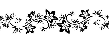 Orizzontale vignette senza soluzione di continuità con fiori illustrazione vettoriale Archivio Fotografico - 20960704
