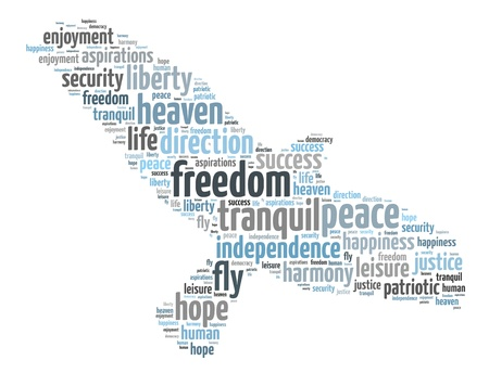 Words illustration of a the concept of freedom over white background Stock Illustration - 21918924