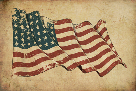world war ii: Wallpaper depicting an aged paper, textured background with a scratched illustration of the US WWI-WWII (48 stars) flag