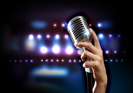 Female hand holding a single retro microphone against colourful background Stock Photo - 19305375
