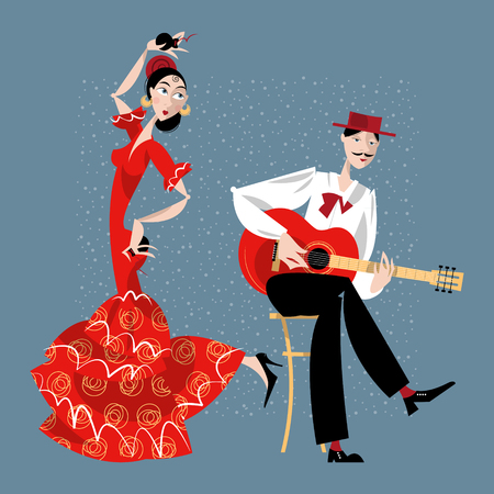 spanish dancer: Flamenco. Dancing girl and guitarist. Vector illustration Illustration