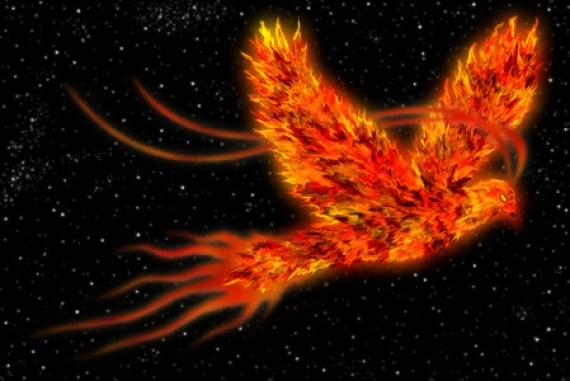 フェニックス、宇宙を飛んでいる火の鳥として知られている神話の鳥のアート。 写真素材 - 33925135