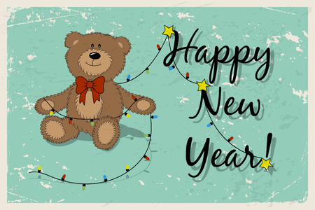 Happy New Year Vintage Postcard With Funny Teddy Bear And Garland     Happy New Year vintage postcard with funny Teddy bear and garland  Cartoon  Teddy bear with