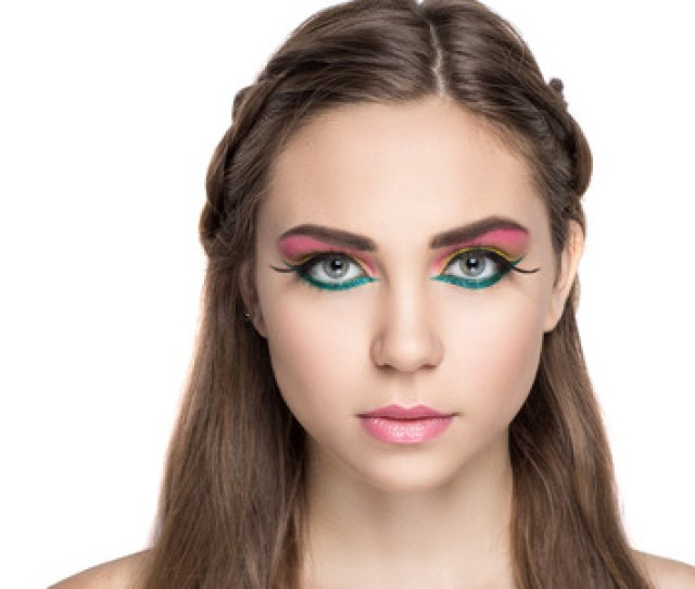 Closeup Portrait Of Beautiful Girl Woman Lady With Professional Make Up And Hair Styling Luxury
