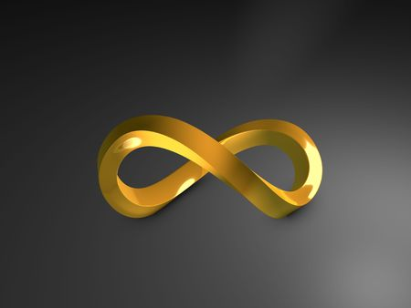3d image, 3d gold infinity shape, over dark background Stock Photo - 5325526