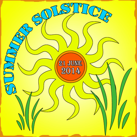 Summer solstice on yellow theme illustration Stock Vector - 28464936
