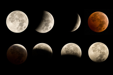 lunar eclipse sequence including total eclipse blood moon Stock Photo - 32555848